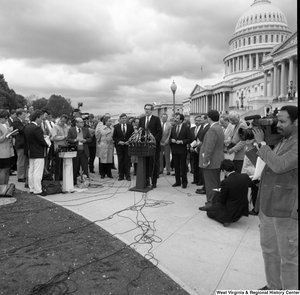 "[""Senator John D. (Jay) Rockefeller speaks at an alternative motor fuels press event outside the Senate for a new piece of methanol auto legislation.""]%"