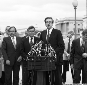"[""Senator John D. (Jay) Rockefeller speaks at an alternative motor fuels event outside the Senate.""]%"