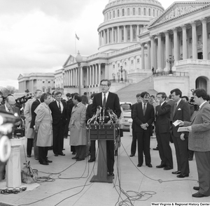 "[""Senator John D. (Jay) Rockefeller addresses the media at an event outside the Senate building.""]%"