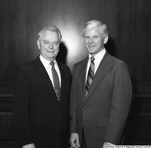 "[""Senator Robert C. Byrd stands for a photograph with West Virginia University President Neil S. Bucklew.""]%"