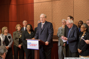 "[""Senator John D. (Jay) Rockefeller speaks at a press conference for the National Association of Counties.""]%"