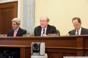 "[""Senators John D. (Jay) Rockefeller, John Kerry, and Pat Toomey sit at a Commerce committee hearing.""]%"