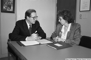 "[""Senator John D. (Jay) Rockefeller meets with a member of the National Education Association's Congressional Contact Team.""]%"