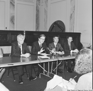 "[""Senator John D. (Jay) Rockefeller speaks during a press event at the Senate.""]%"