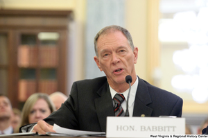"[""A man identified as Honorable Babbitt testifies before a Senate Commerce Committee hearing.""]%"