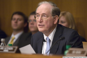 "[""Senator John D. (Jay) Rockefeller sits and listens during a Commerce Committee hearing.""]%"