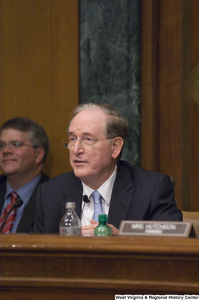 "[""Senator John D. (Jay) Rockefeller sits and listens to testimony at a Commerce Committee hearing.""]%"