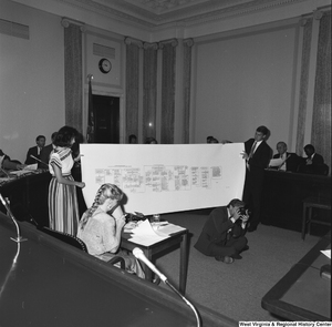 "[""Two unidentified staffers hold a large flowchart during a Senate confirmation hearing.""]%"