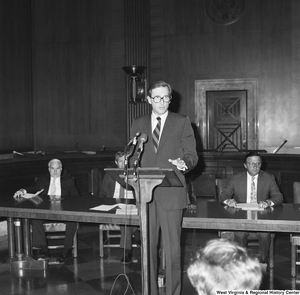 "[""Senator John D. (Jay) Rockefeller speaks at a press event for the Veterans Affairs Committee.""]%"