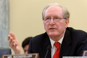 "[""Senator John D. (Jay) Rockefeller gestures at a Commerce Committee hearing.""]%"