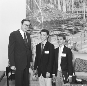 "[""Two young participants in Washington Workshops stand next to Senator John D. (Jay) Rockefeller in his office. This program provides experience-based civic learning opportunities to high achieving students.""]%"