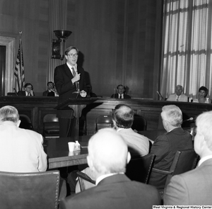 "[""Senator John D. (Jay) Rockefeller speaks to the audience at a Senate committee hearing.""]%"