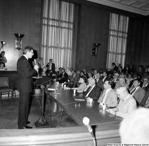 "[""Senator John D. (Jay) Rockefeller addresses the audience at a Senate committee hearing.""]%"