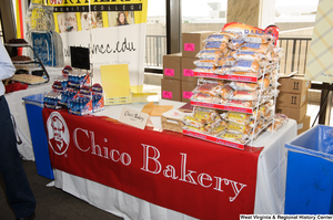 "[""The Chico Bakery table sits at the 150th birthday celebration for West Virginia.""]%"