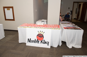 "[""The Marble King company has a table at the 150th birthday celebration for West Virginia.""]%"