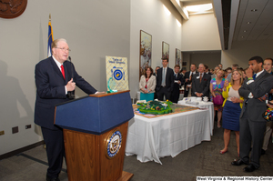 "[""Senator John D. (Jay) Rockefeller speaks at the 150th birthday celebration for West Virginia.""]%"