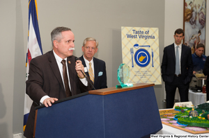 "[""Representative David McKinley speaks at the 150th birthday celebration for West Virginia.""]%"
