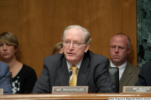 "[""Senator John D. (Jay) Rockefeller asks a question during a Finance Committee hearing.""]%"