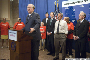 "[""Senator John D. (Jay) Rockefeller speaks at a Standing Together for Medicare press conference.""]%"