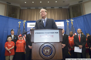 "[""Senator John D. (Jay) Rockefeller speaks at a Standing Together for Medicare press event.""]%"