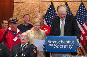 "[""Senator John D. (Jay) Rockefeller prepares to speak at a Strengthening our Security event.""]%"