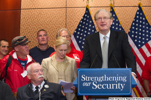 "[""Senator John D. (Jay) Rockefeller speaks at an event called Strengthening our Security.""]%"
