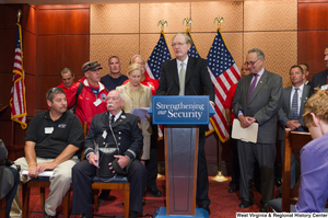 "[""Senator John D. (Jay) Rockefeller speaks at an event for Strengthening our Security.""]%"