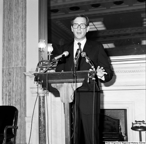 "[""Senator John D. (Jay) Rockefeller speaks at a press event in a Senate building.""]%"
