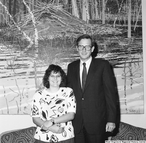 "[""Senator John D. (Jay) Rockefeller stands next to an unidentified West Virginia woman in his office.""]%"