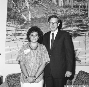 "[""Senator John D. (Jay) Rockefeller stands next to a participant of the National Young Leaders Conference.""]%"