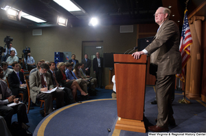 "[""Senator John D. (Jay) Rockefeller speaks to a room of reporters at a Senate media event.""]%"