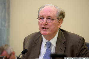 "[""Senator John D. (Jay) Rockefeller speaks at a Commerce Committee hearing.""]%"