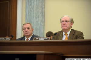 "[""Senators John D. (Jay) Rockefeller and Richard Durbin sit next to one another at a Commerce Committee hearing.""]%"