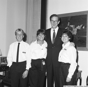 "[""Senator John D. (Jay) Rockefeller stands in his office with three Senate Democratic Pages.""]%"