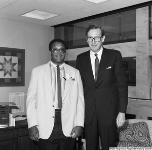 "[""Senator John D. (Jay) Rockefeller stands in his office with a participant in the National Young Leaders Conference.""]%"