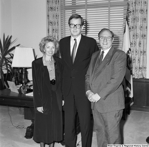"[""Senator John D. (Jay) Rockefeller stands in his office with two representatives from West Virginia schools.""]%"