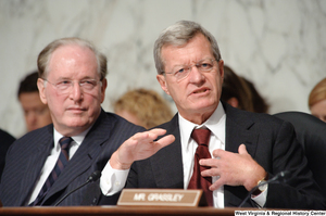 "[""Senator Max Baucus speaks during a Finance Committee hearing.""]%"