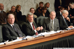 "[""Senators John D. (Jay) Rockefeller, Max Baucus, and Charles Grassley listen to testimony at a Finance Committee executive session to consider health care reform.""]%"
