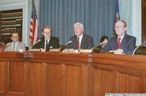 "[""Senator Ernest Hollings speaks during a Senate Commerce Committee hearing.""]%"