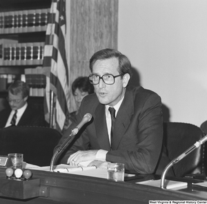 "[""Senator John D. (Jay) Rockefeller speaks at a committee hearing.""]%"