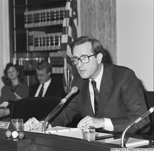 "[""Senator John D. (Jay) Rockefeller speaks during a Senate committee hearing.""]%"