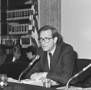 "[""Senator John D. (Jay) Rockefeller listens during a Senate committee hearing.""]%"