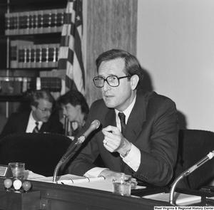 "[""Senator John D. (Jay) Rockefeller speaks at a Senate committee hearing.""]%"