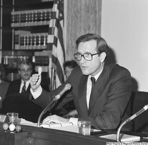 "[""Senator John D. (Jay) Rockefeller speaks during a committee hearing.""]%"