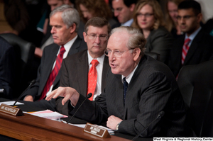 "[""Senator John D. (Jay) Rockefeller speaks at a Finance Committee executive session to consider a health care reform bill.""]%"