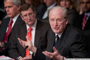"[""Senator John D. (Jay) Rockefeller gestures during a Finance Committee hearing.""]%"