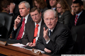 "[""Senator John D. (Jay) Rockefeller gestures during a Finance Committee hearing about health care reform.""]%"