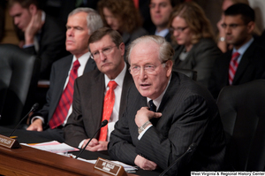 "[""Senator John D. (Jay) Rockefeller speaks during a Finance Committee hearing about health care reform.""]%"