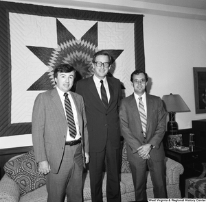 "[""Two directors of the VA hospital in Huntington stand for a photograph with Senator John D. (Jay) Rockefeller in his Washington office.""]%"