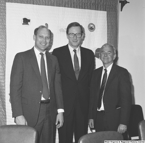 "[""Senator John D. (Jay) Rockefeller stands with two West Virginia University Hospitals representatives.""]%"